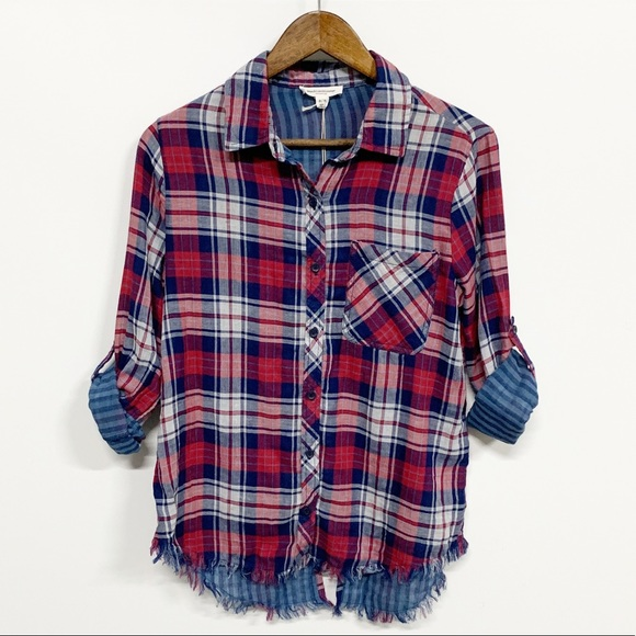 beachlunchlounge Tops - beachlunchlounge Red Plaid Cuffed Distress Flannel